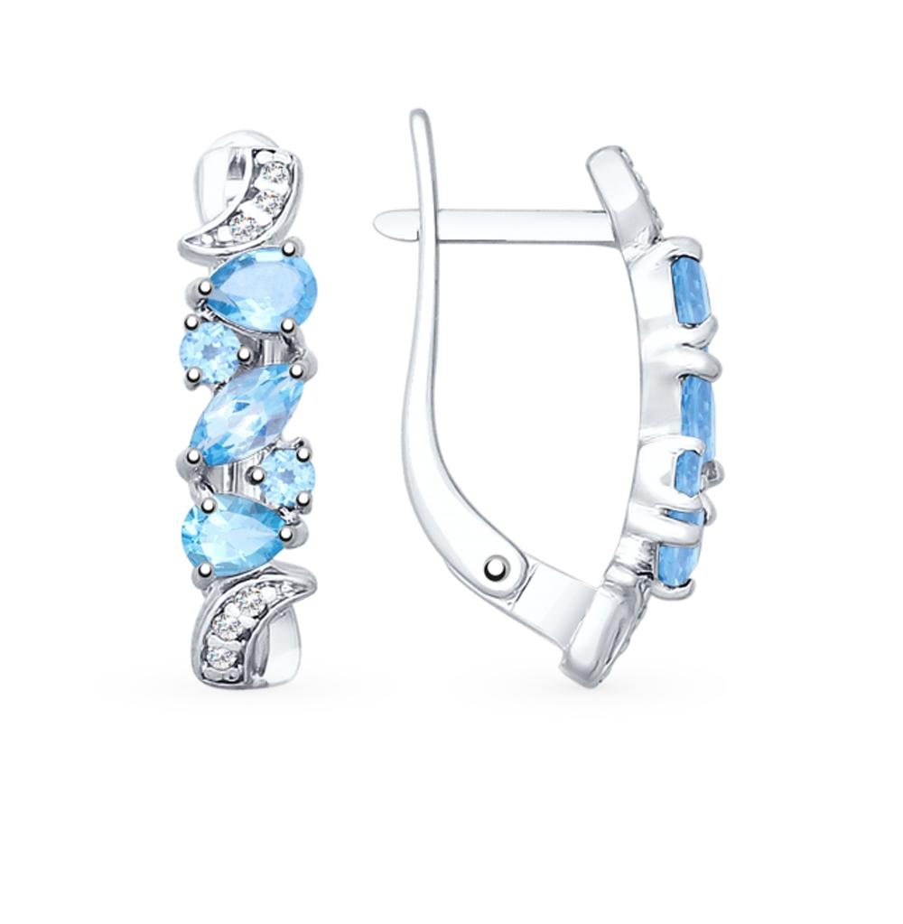Фото «Серебряные серьги с топазами и фианитами SOKOLOV 92021778»