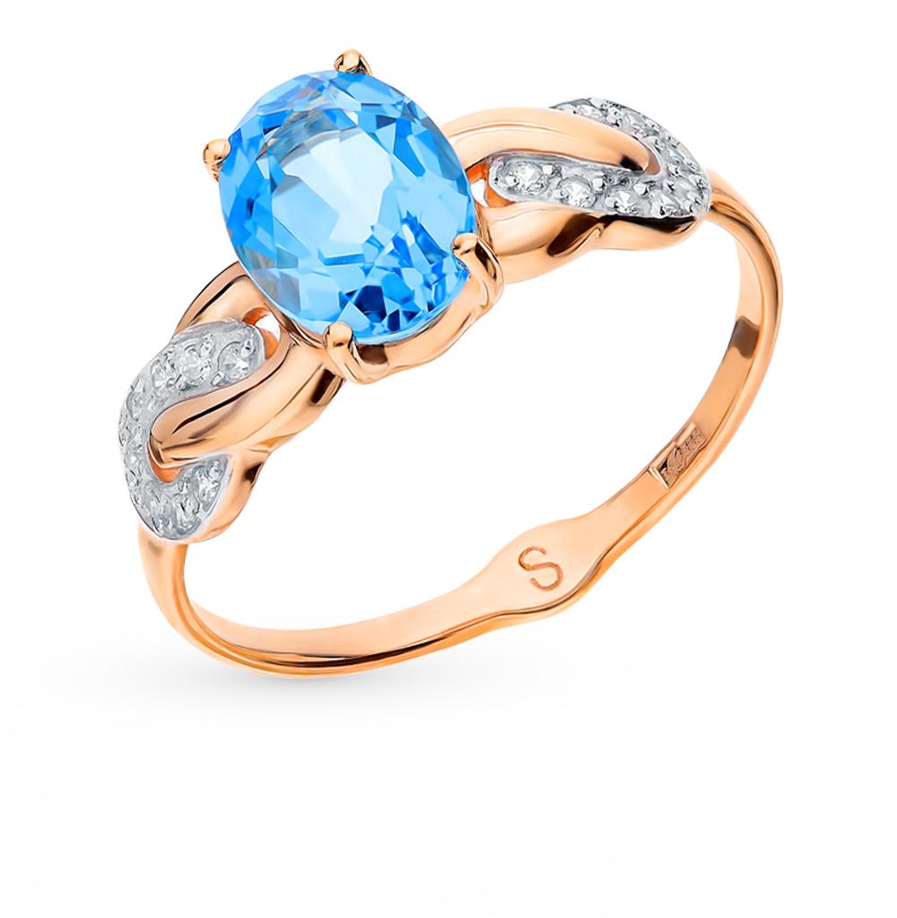 золотое кольцо с топазами и фианитами SOKOLOV 715110*