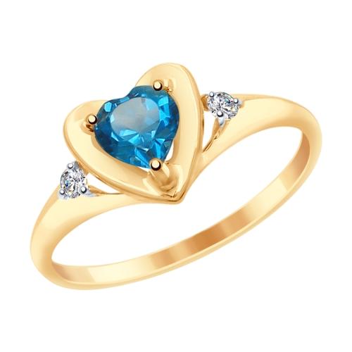 Фото «Золотое кольцо с топазами и фианитами SOKOLOV 715043*»