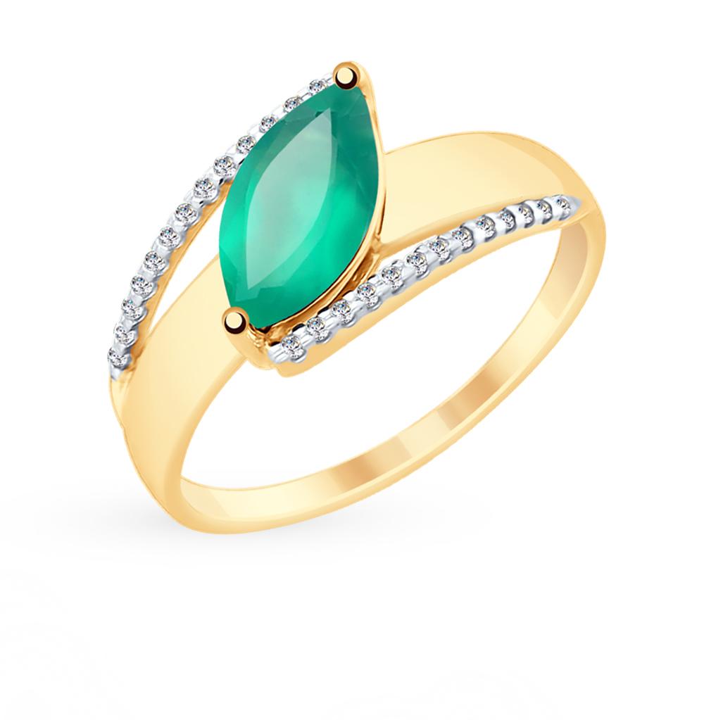 золотое кольцо с фианитами и агатом SOKOLOV 715371*