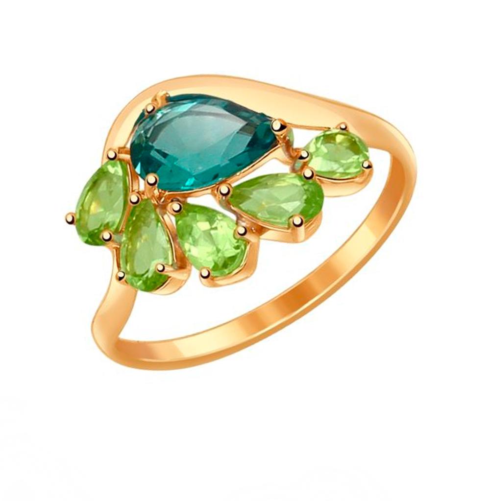 Фото «Золотое кольцо с хризолитом и кварцем SOKOLOV 714556*»