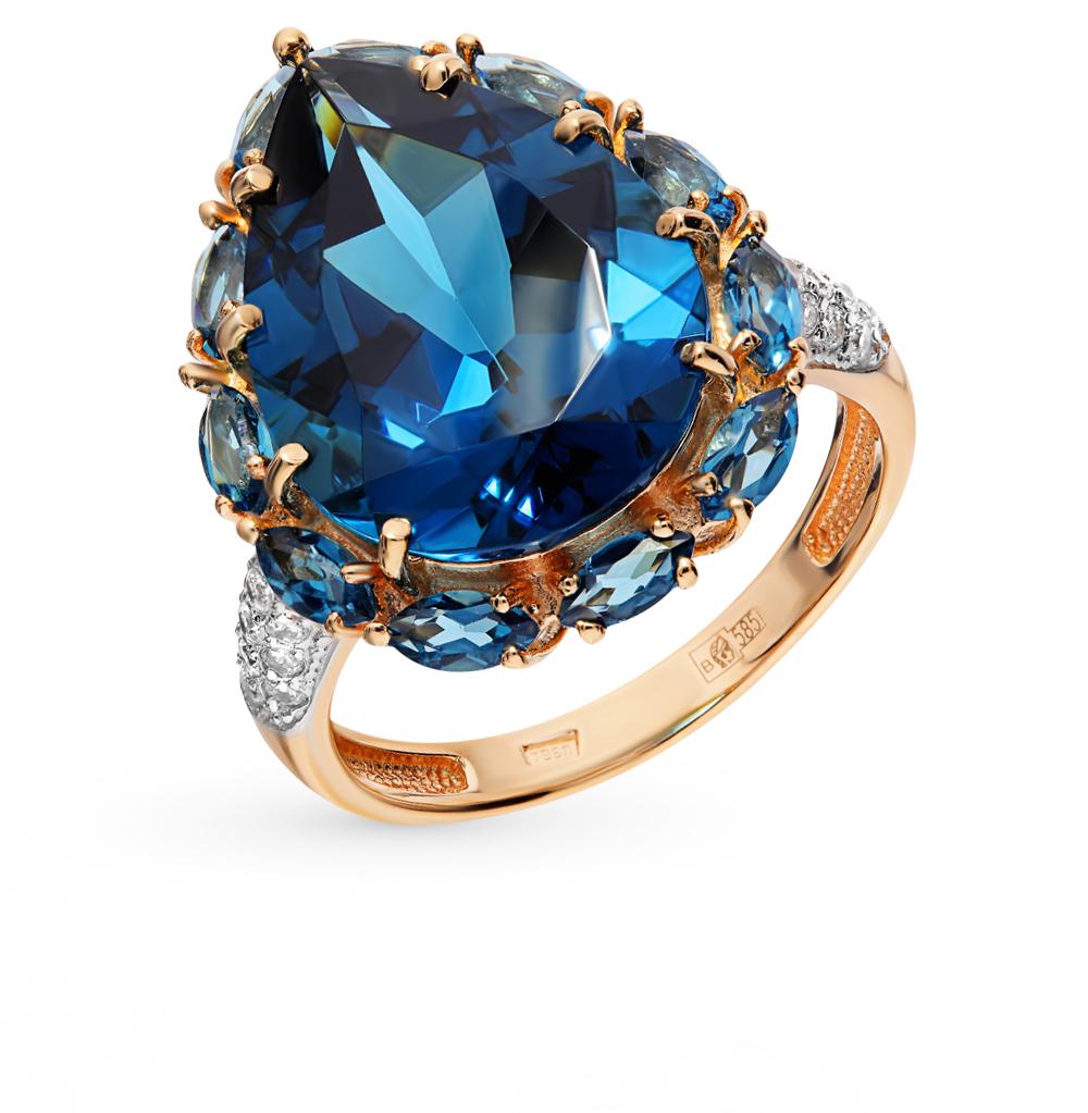 Фото «Золотое кольцо со шпинелью и фианитами»
