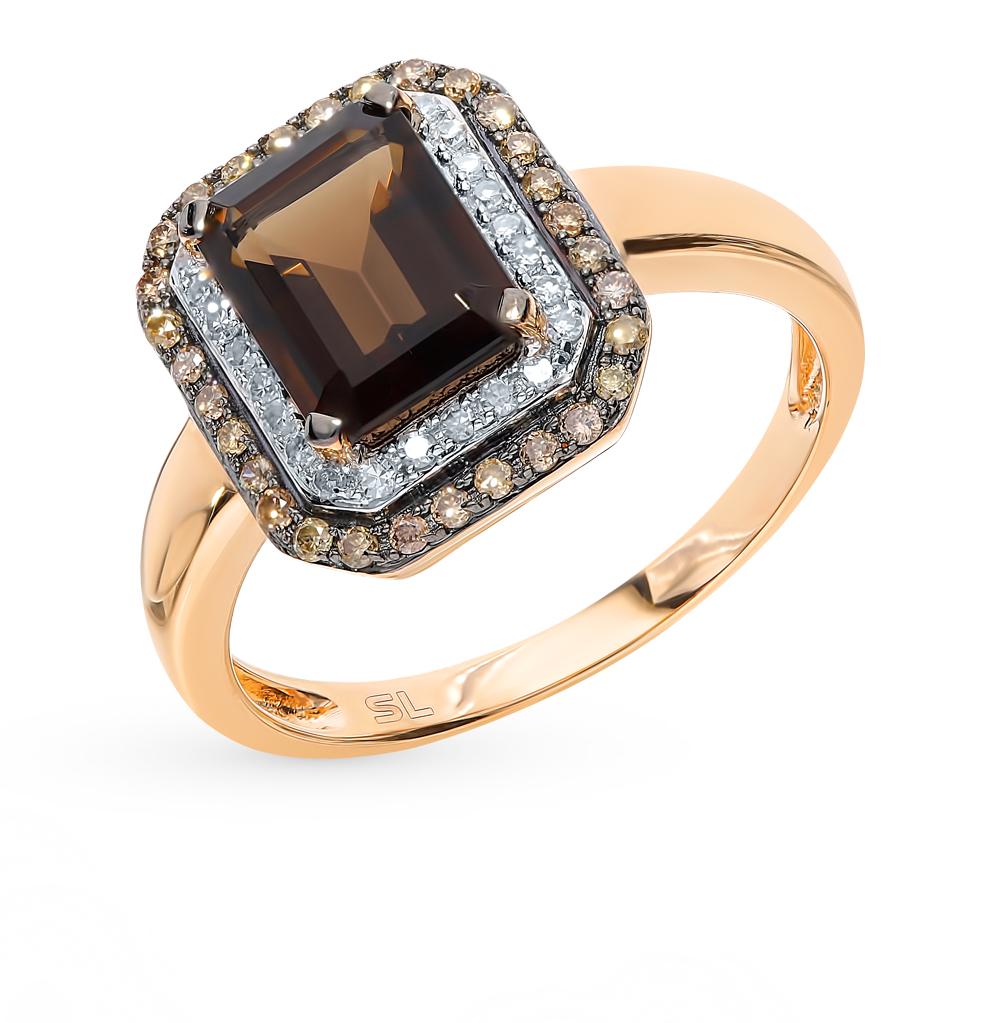 Фото «Золотое кольцо с раухтопазом и бриллиантами»