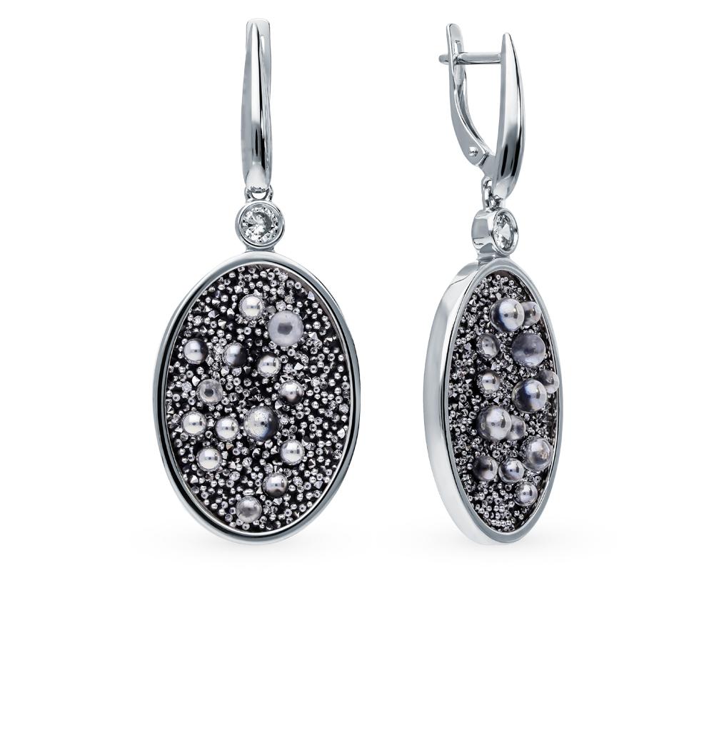 Фото «Серебряные серьги с кристаллами и фианитами SOKOLOV 94023682»
