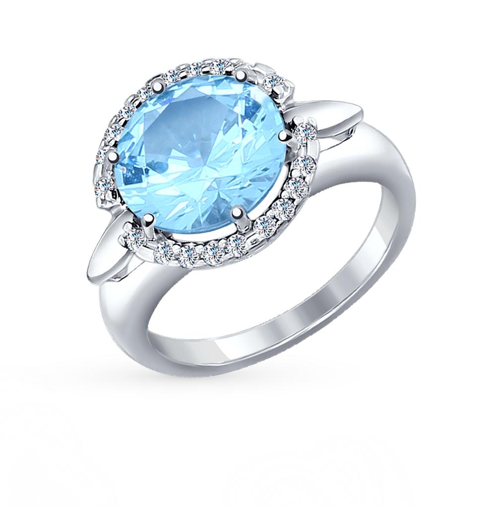 Фото «Серебряное кольцо с фианитами и наноситаллами SOKOLOV 92011126»
