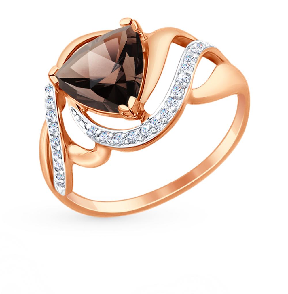 золотое кольцо с топазами и фианитами SOKOLOV 714725*