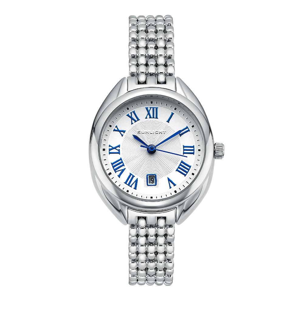 Классические женские часы с римскими цифрами на металлическом браслете