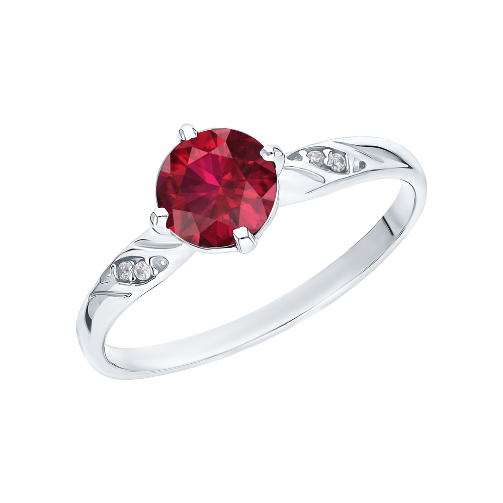Фото «Серебряное кольцо с рубинами и фианитами»
