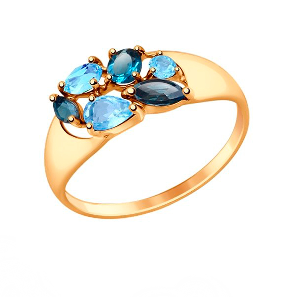золотое кольцо с топазами SOKOLOV 714678*