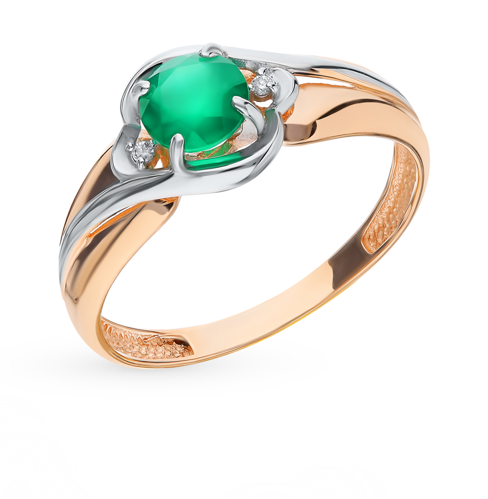 золотое кольцо с фианитами и агатом
