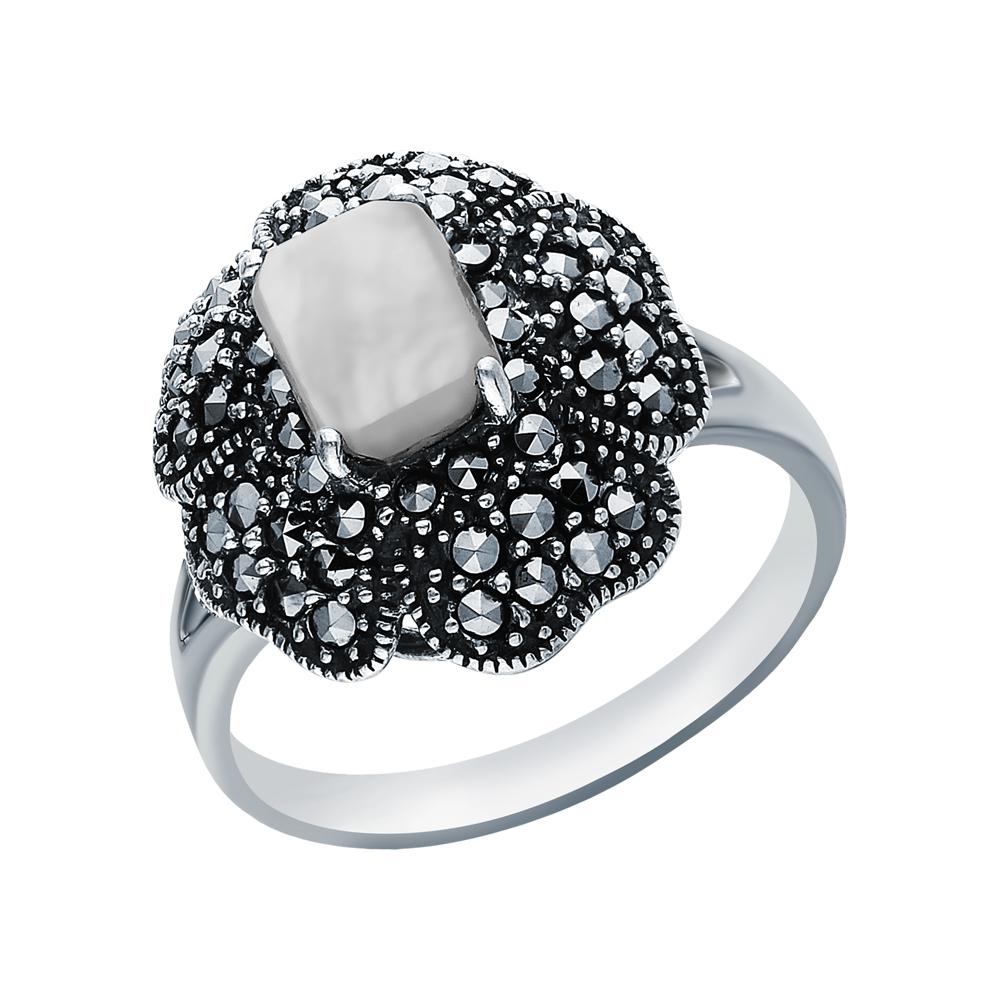 Серебряное кольцо с перламутром и марказитами swarovski в Санкт-Петербурге