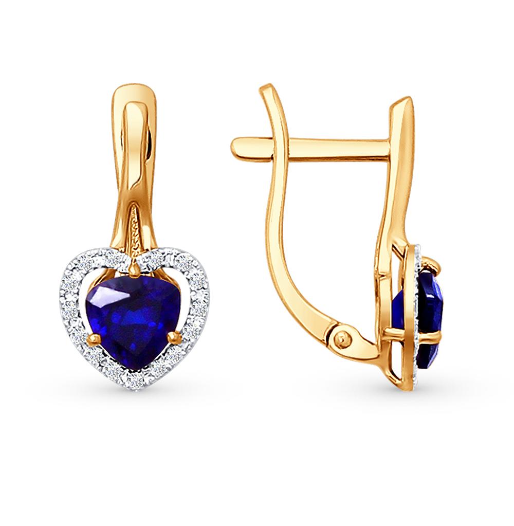 Фото «золотые серьги с корундом и бриллиантами»