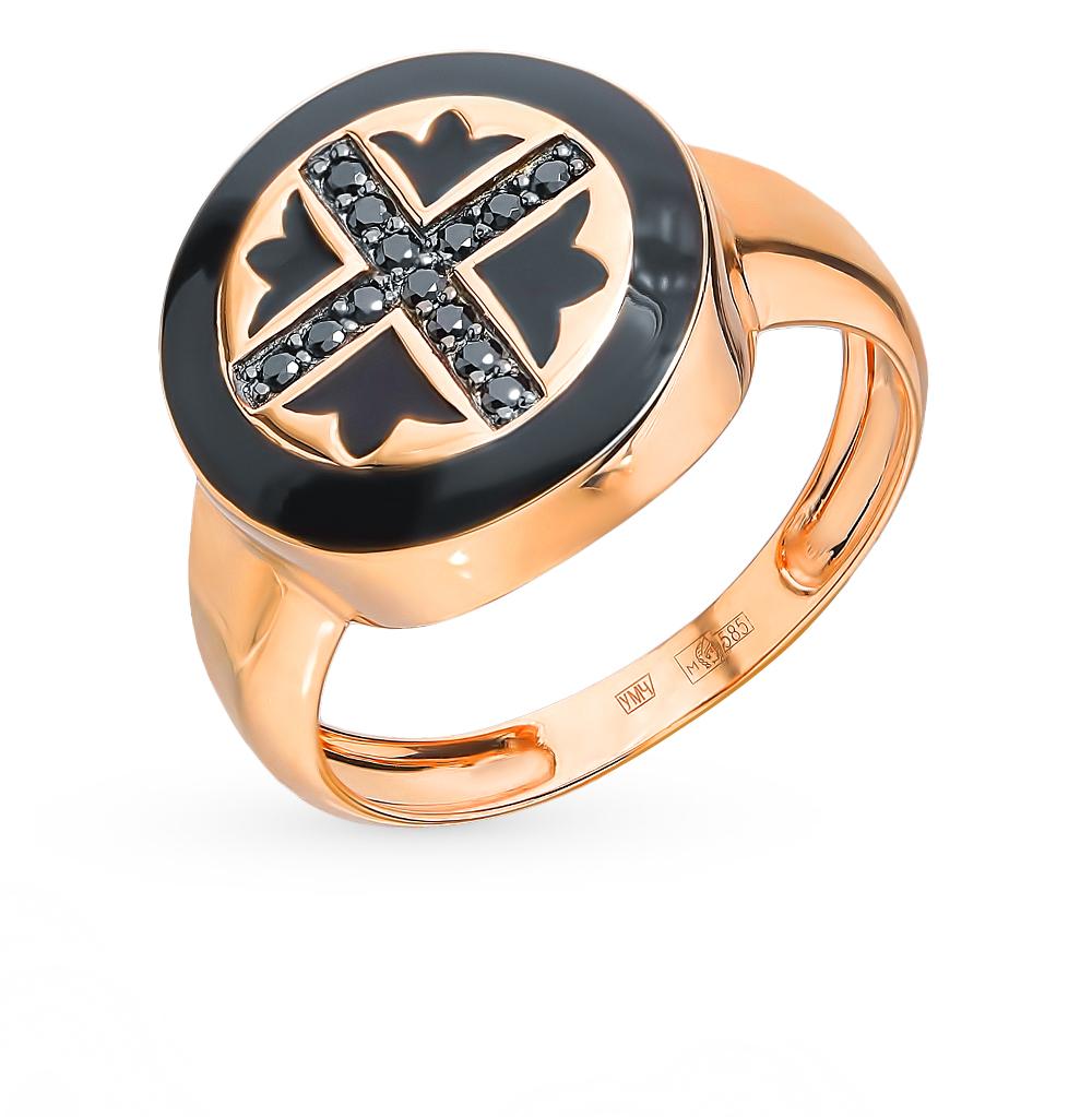 Фото «Золотое кольцо с фианитами и эмалью»