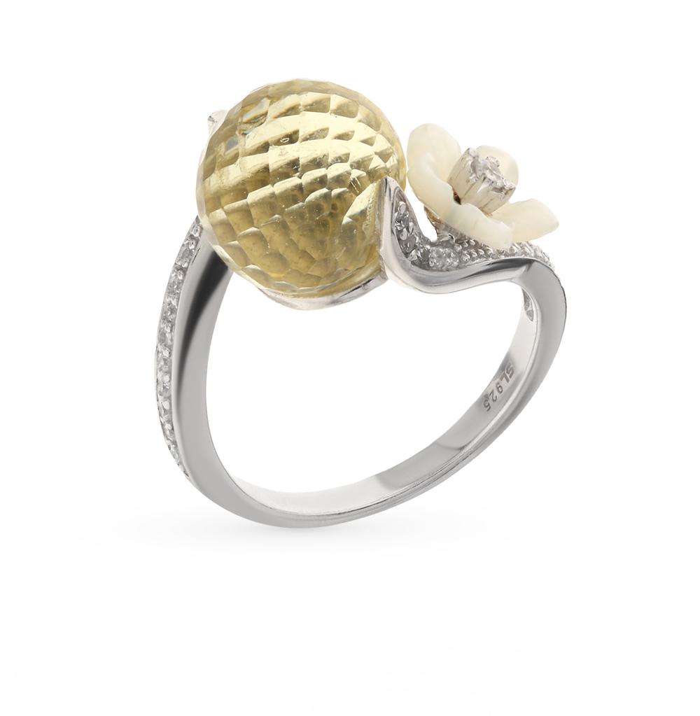 Фото «серебряное кольцо с алпанитом, фианитами и перламутром»