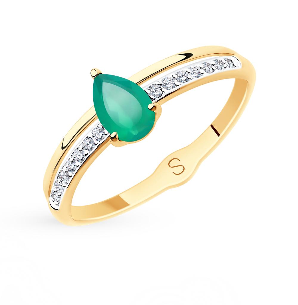 Фото «Золотое кольцо с фианитами и агатом SOKOLOV 715586*»