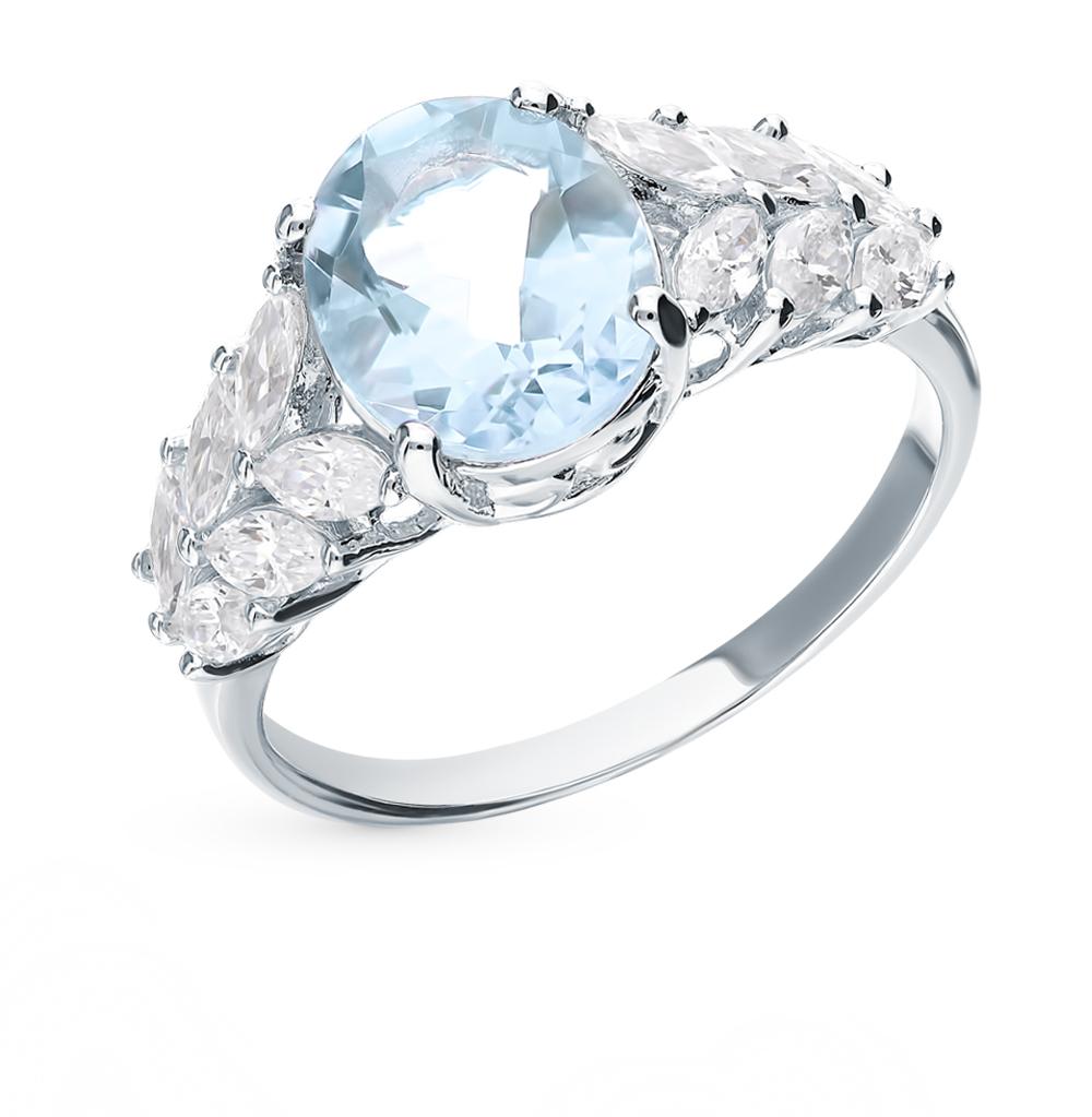 Серебряное кольцо с топазом и фианитами в Екатеринбурге