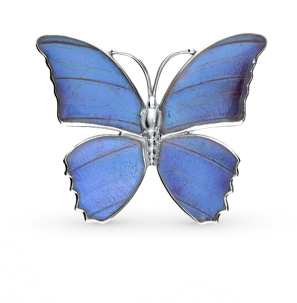 Серебряная брошь с фианитами, эмалью и крыльями бабочки, 5 см