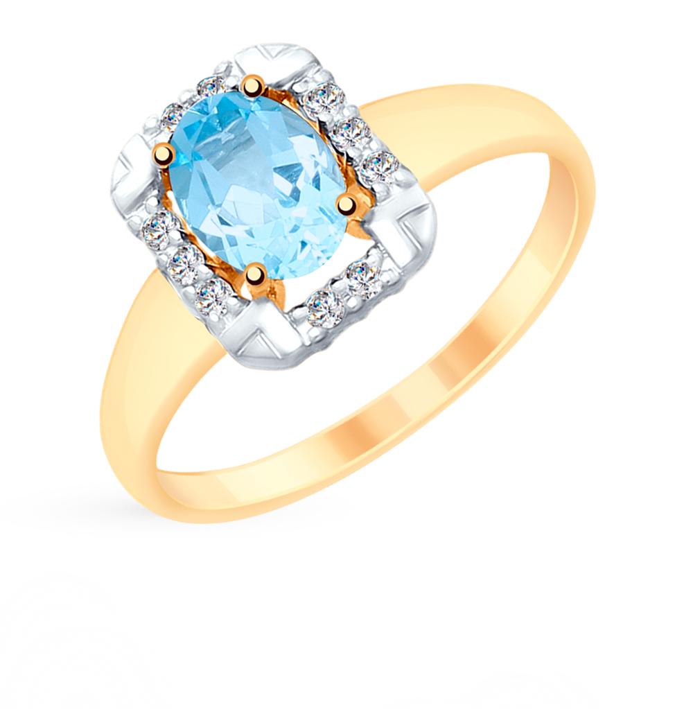 золотое кольцо с топазами и фианитами SOKOLOV 715301*