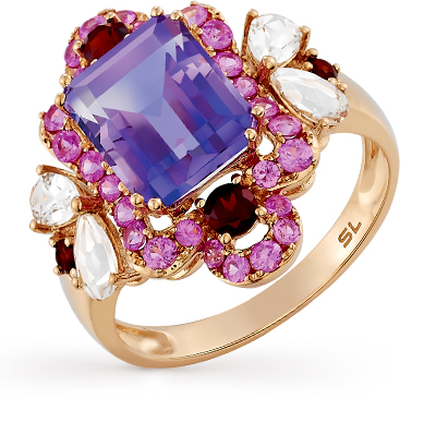 Фото «золотое кольцо с аметистом, гранатом, кварцем и сапфирами»
