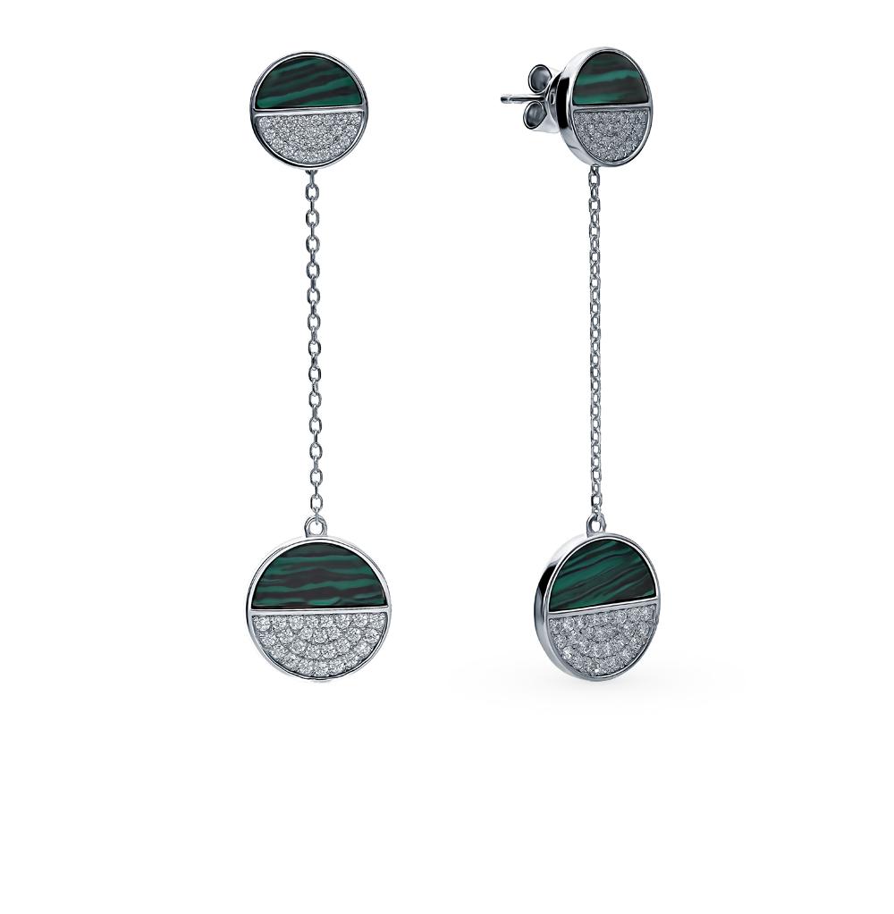 Серебряные серьги с малахитом и фианитами SOKOLOV 94024593 в Санкт-Петербурге