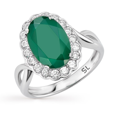 Фото «серебряное кольцо с алпанитом, фианитами и агатом»