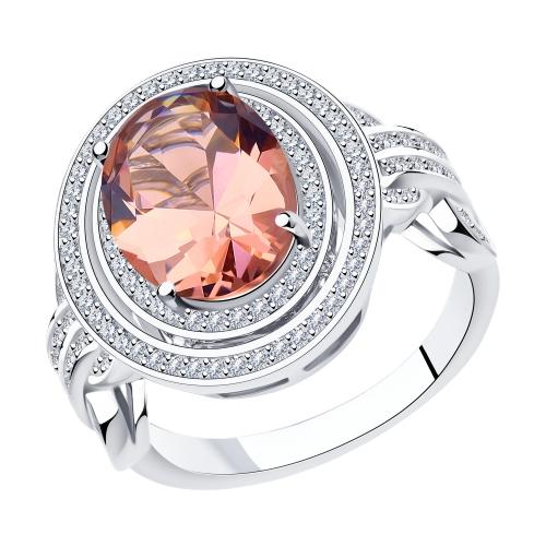 Серебряное кольцо с фианитами и ситаллами SOKOLOV 94014572 в Екатеринбурге