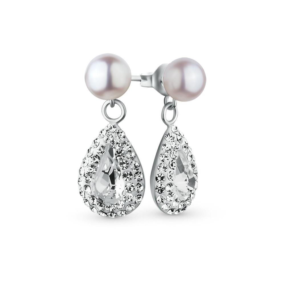 Фото «серебряные серьги с алпанитом, жемчугом и кристаллами swarovski»