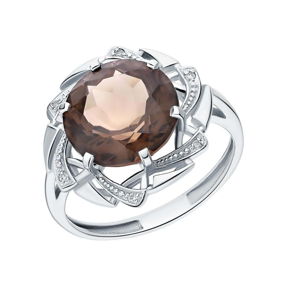 Серебряное кольцо с раухтопазами и фианитами в Екатеринбурге