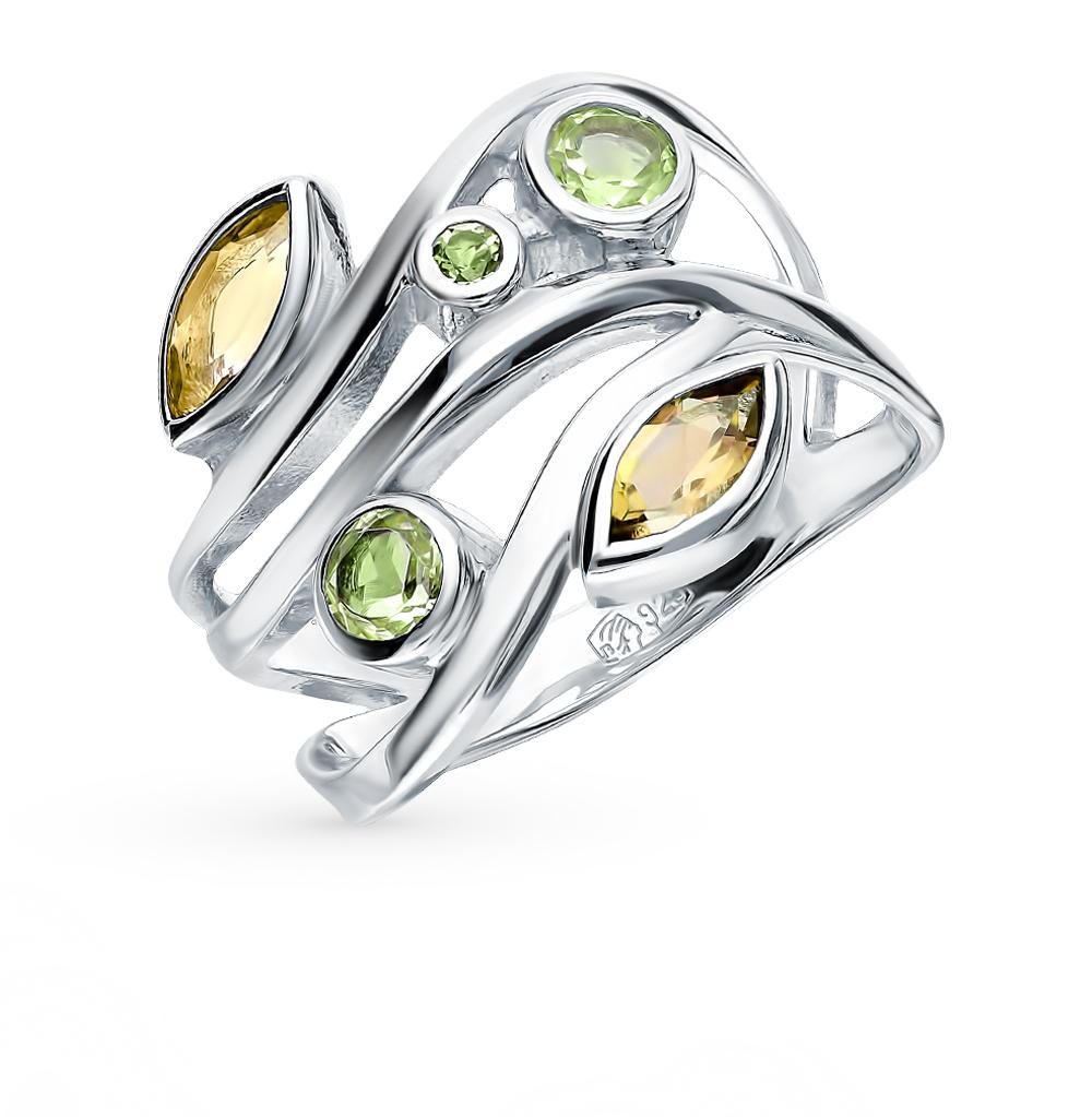 Серебряное кольцо с хризолитом и цитринами в Екатеринбурге