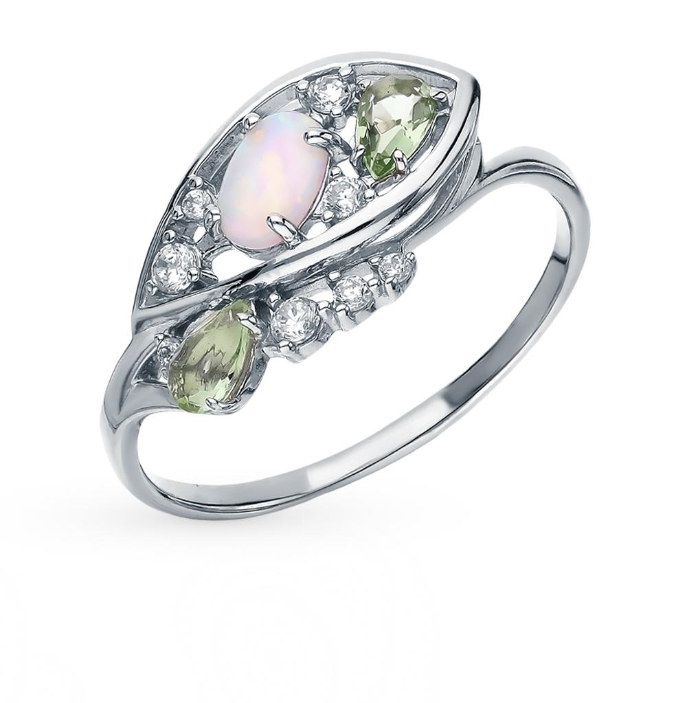 серебряное кольцо с фианитами, опалами и празиолитами
