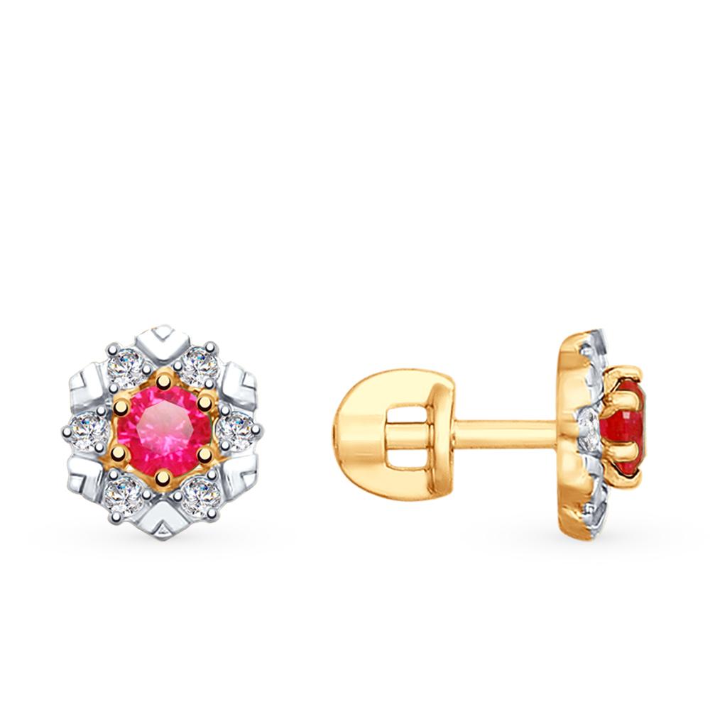 Фото «Золотые серьги с рубинами, корундом и фианитами SOKOLOV 725782*»