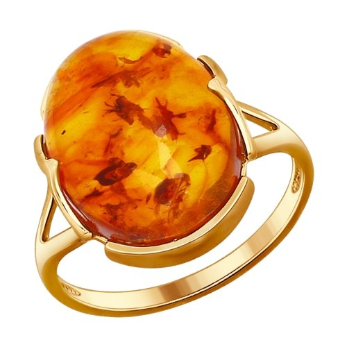 Серебряное кольцо с янтарем SOKOLOV 93010518 в Санкт-Петербурге