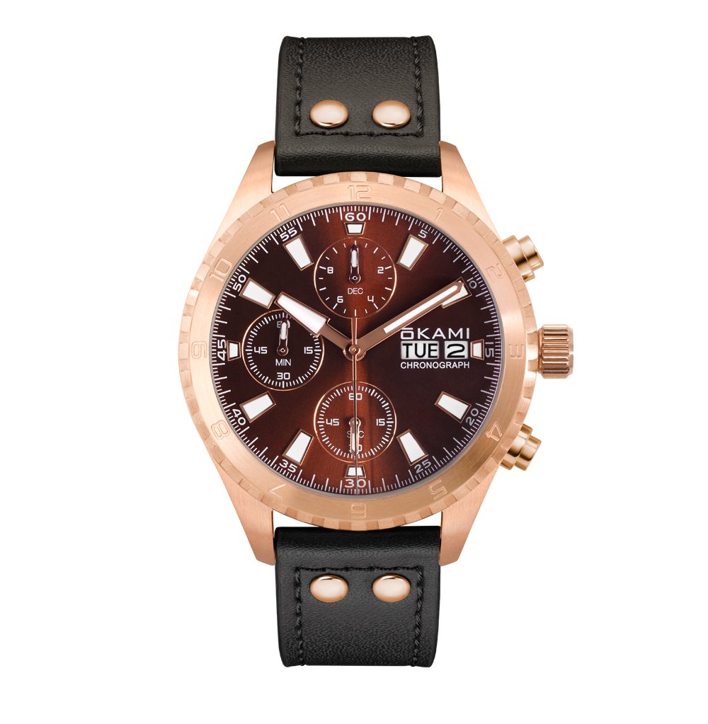 Мужские часы с хронографом и календарем на черном ремне из натуральной кожи