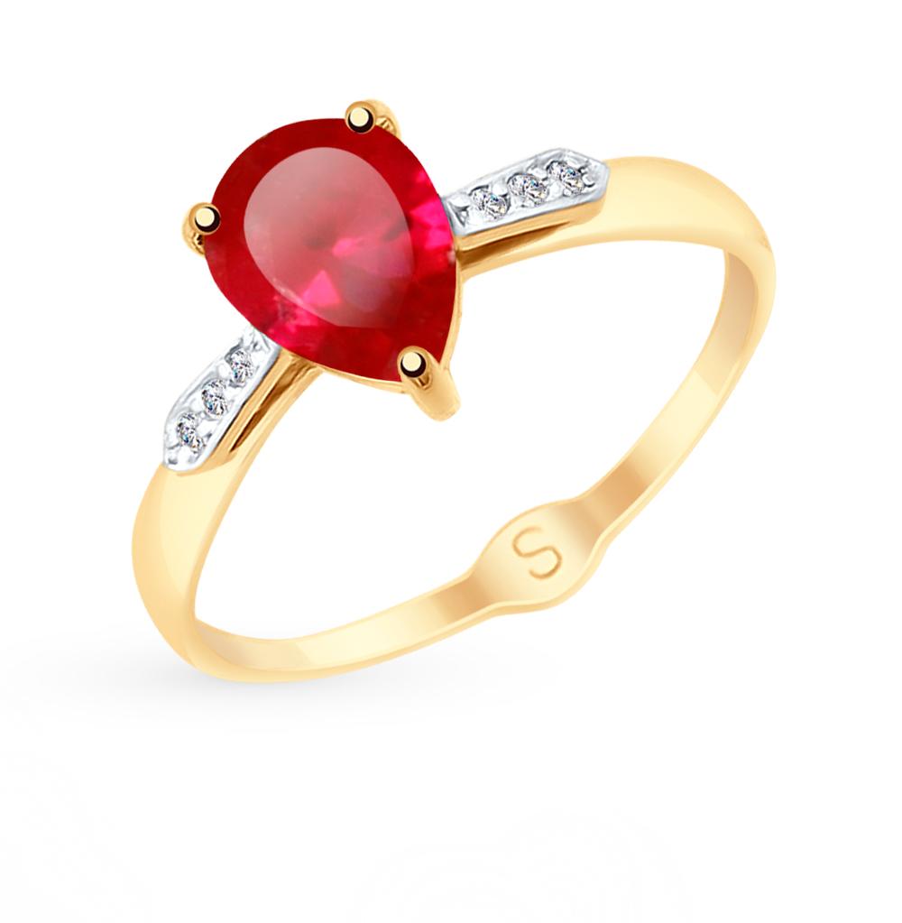 Золотое кольцо с корундом и фианитами SOKOLOV 715149* в Екатеринбурге