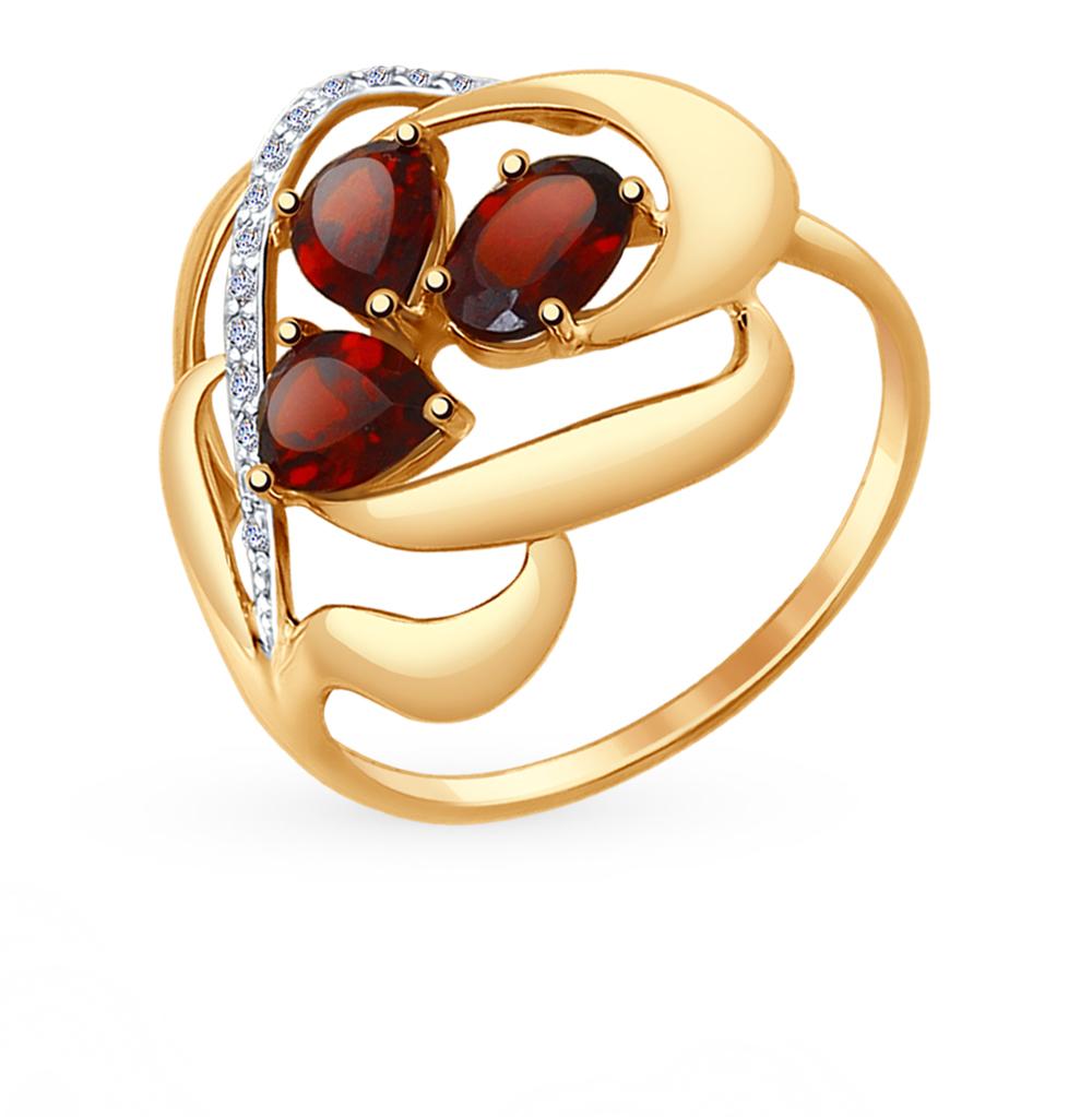 золотое кольцо с фианитами и гранатом SOKOLOV 714732*