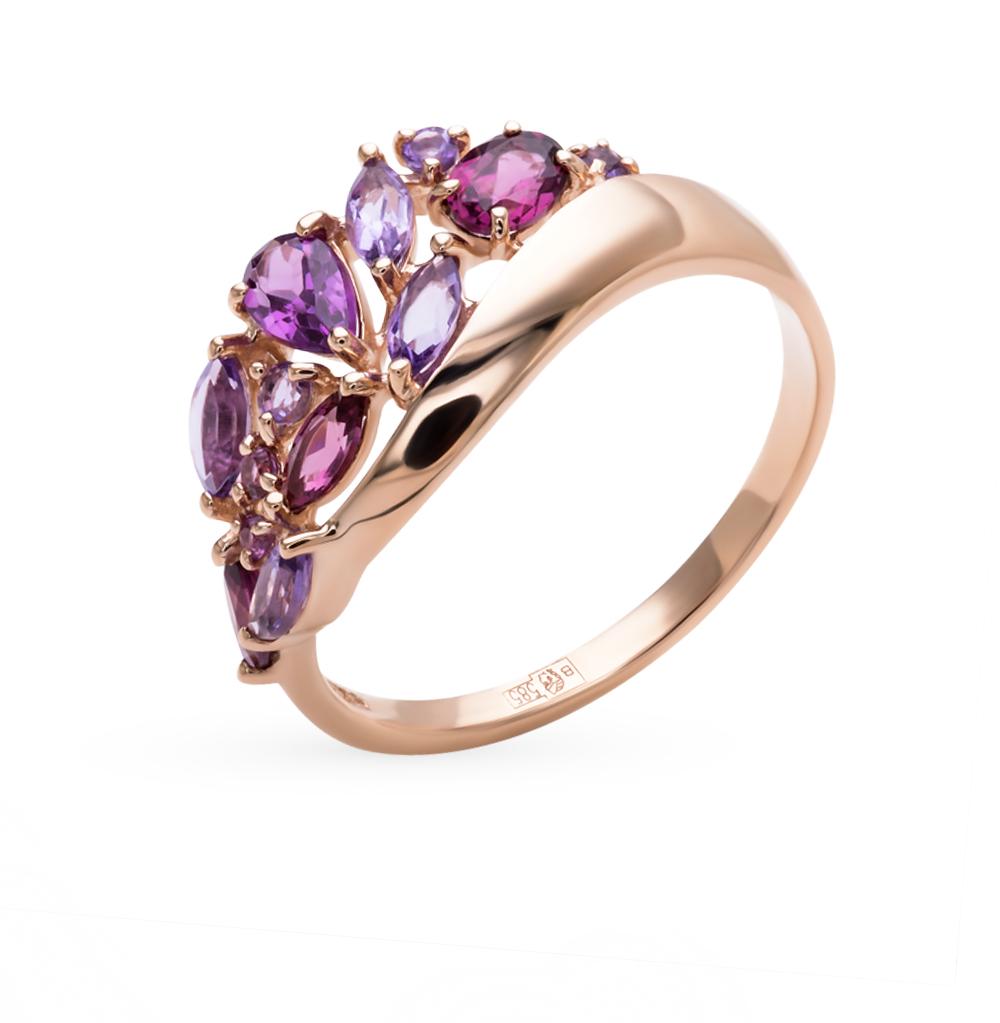 золотое кольцо с родолитами и аметистом SOKOLOV 714393*