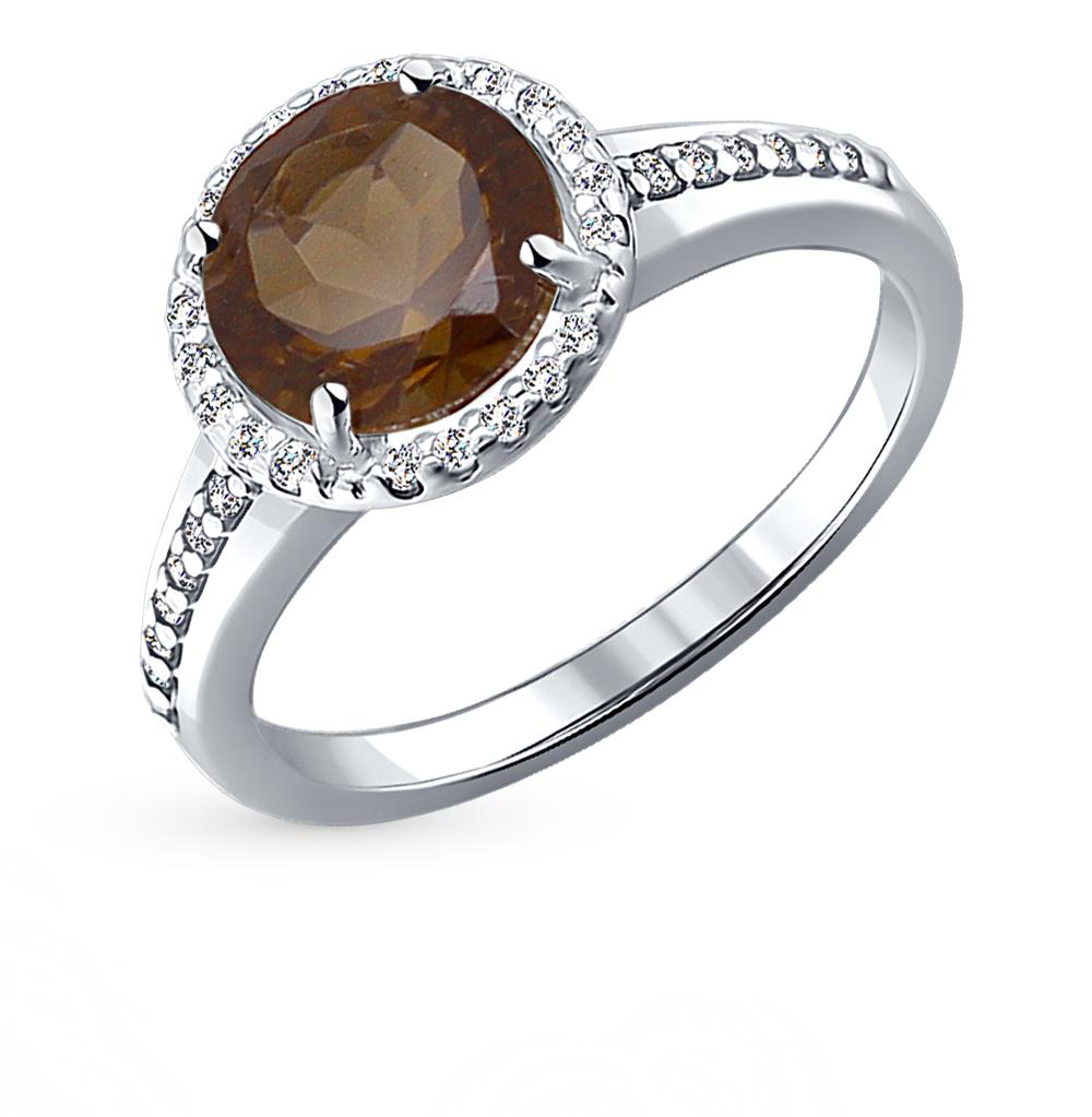 Серебряное кольцо с раухтопазами и фианитами SOKOLOV 92010970 в Екатеринбурге