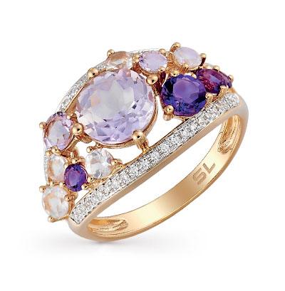 золотое кольцо с аметистом, кварцем и бриллиантами