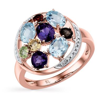 Фото «Золотое кольцо с хризолитом, раухтопазами, аметистом, топазами, гранатом и цитринами»