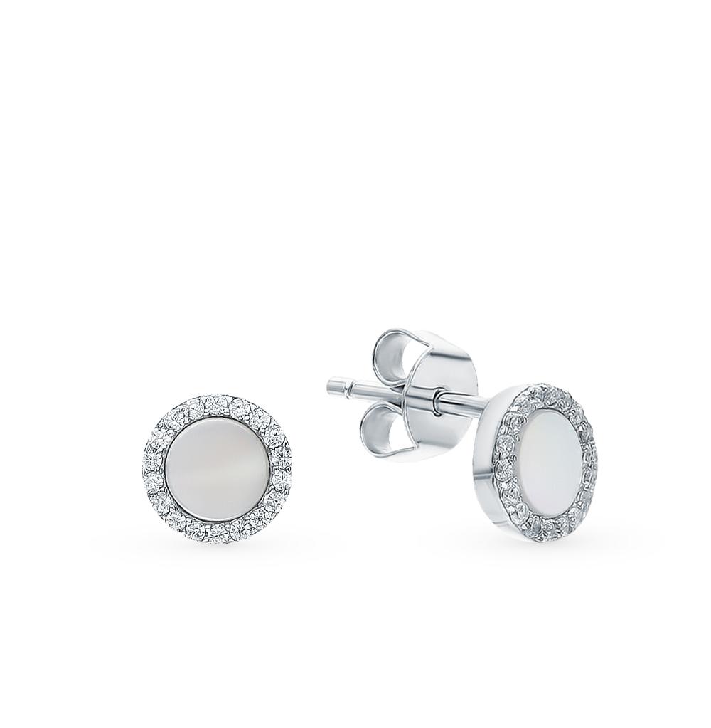 Фото «Серебряные серьги с фианитами и перламутром»