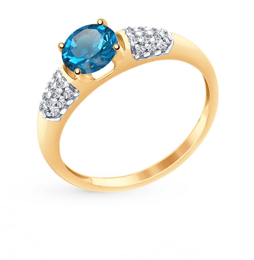 Фото «Золотое кольцо с топазами и фианитами SOKOLOV 714977*»