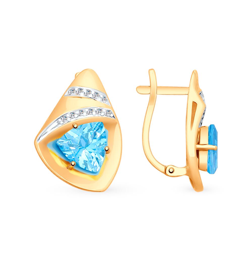 золотые серьги с топазами и фианитами SOKOLOV 725562*