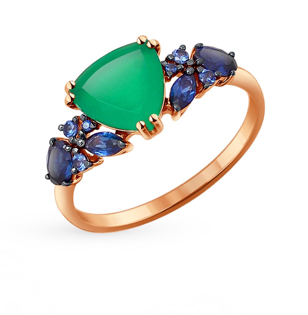 золотое кольцо с корундом и агатом SOKOLOV 714192*