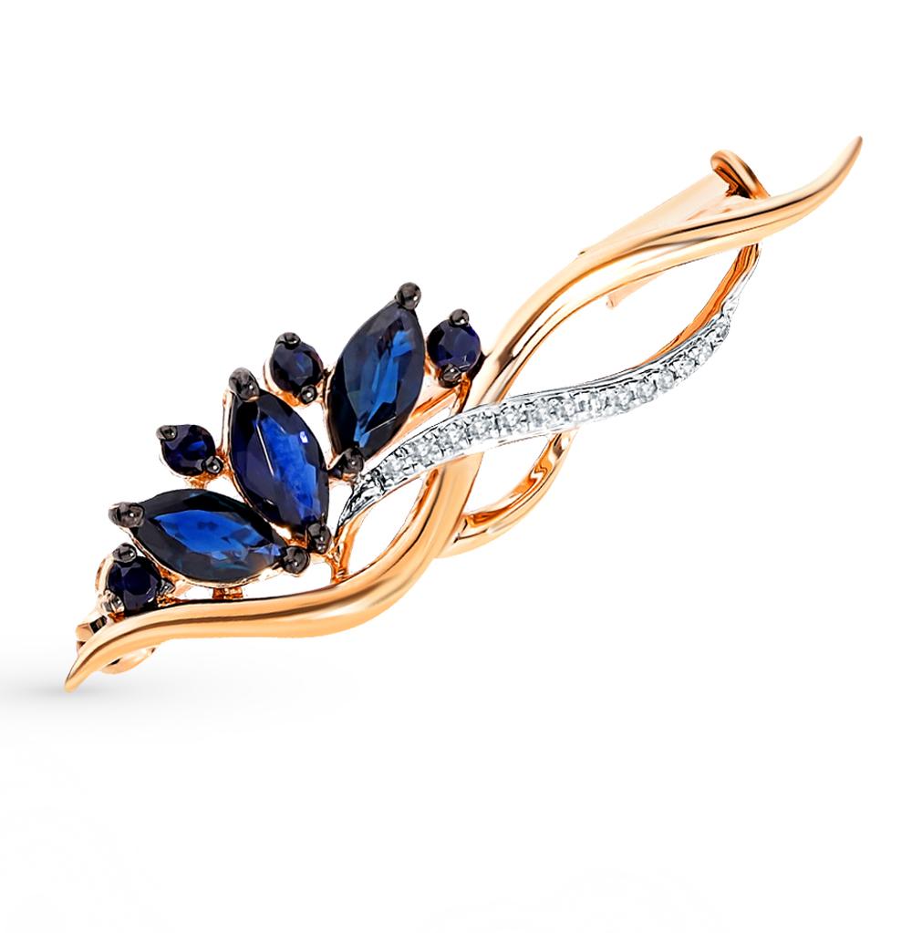 Фото «Золотая брошь с сапфирами и бриллиантами»