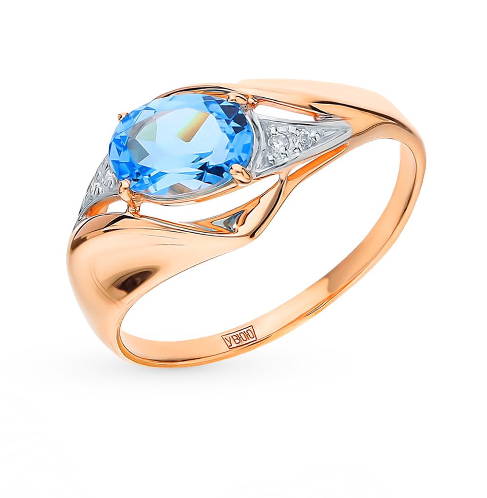 золотое кольцо с топазами и фианитами SOKOLOV 715265*