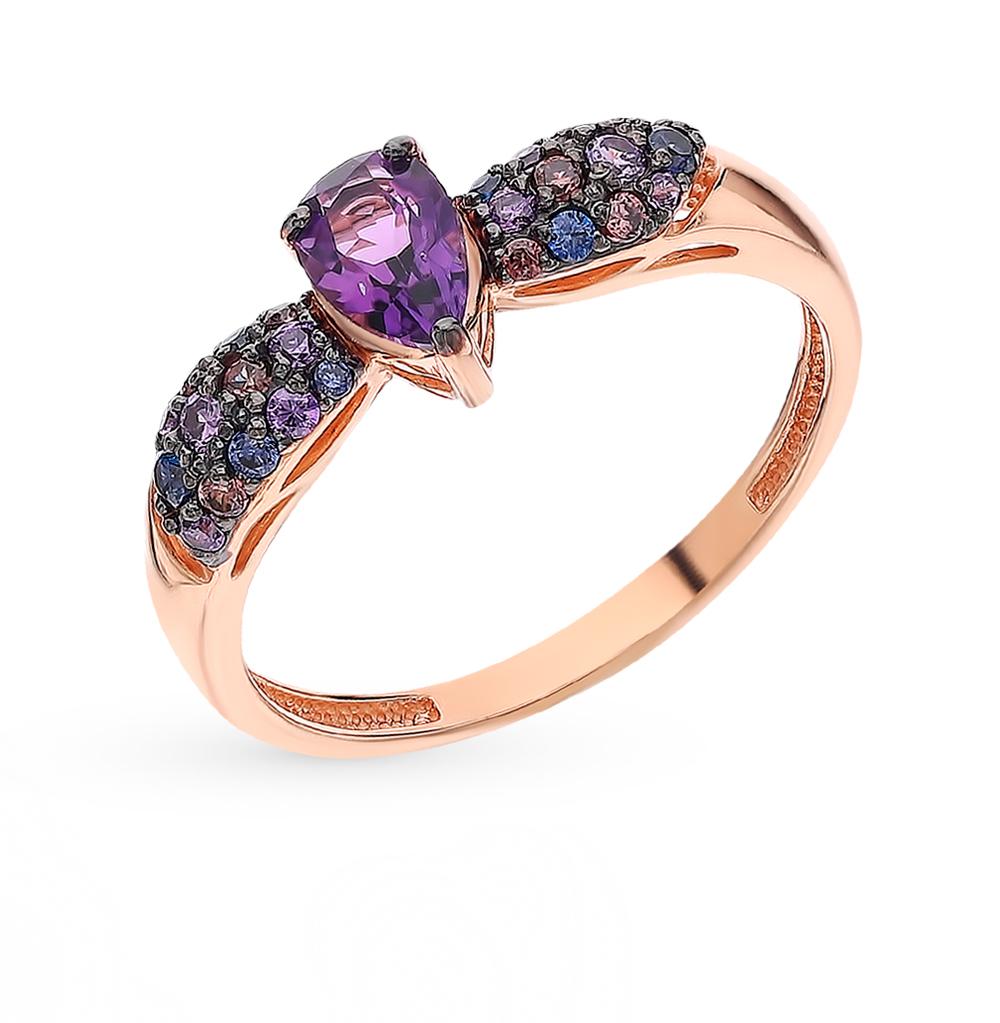 Фото «Золотое кольцо с аметистом и фианитами»