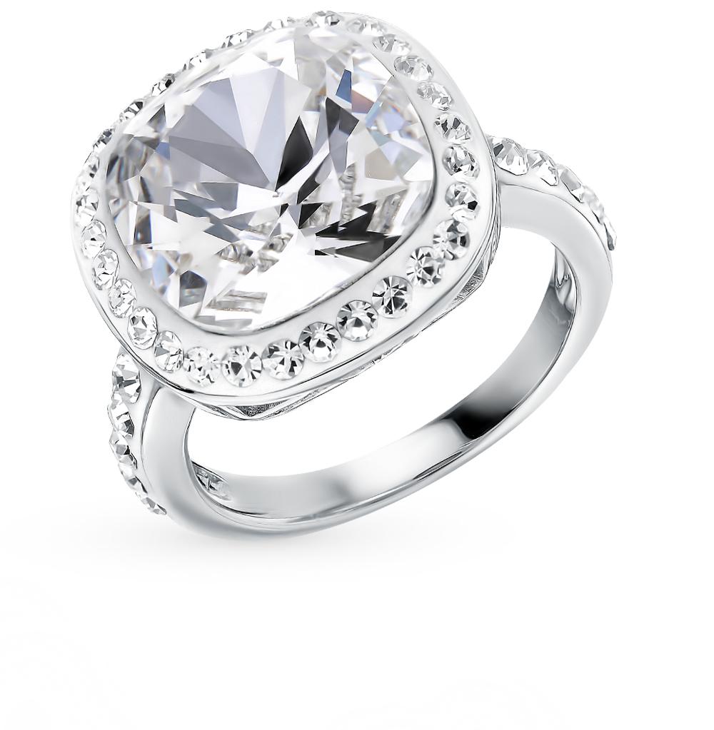 стальное кольцо с кристаллами swarovski