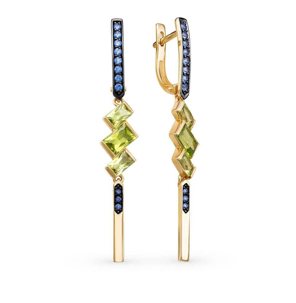 Фото «Золотые серьги с хризолитом и фианитами»