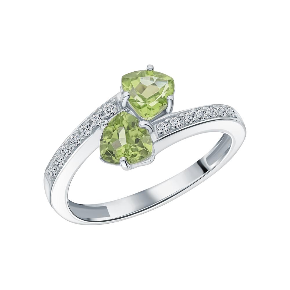 Фото «Серебряное кольцо с хризолитом и фианитами»