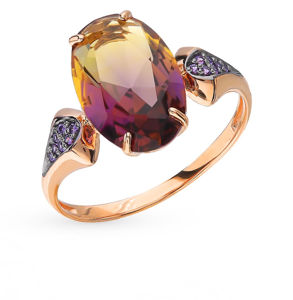 Золотое кольцо с аметрином и фианитами в Екатеринбурге